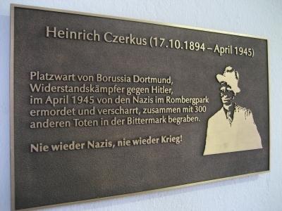 The memorial plate in honour of Heinrich Czerkus