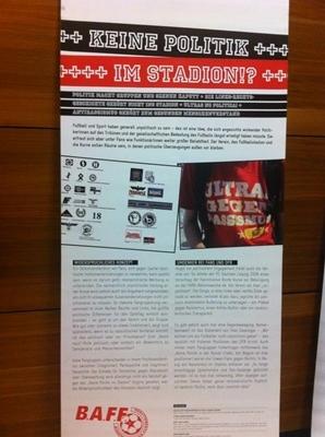 "Flyer des Workshops mit dem Titel: ""Keine Politik im Stadion!?"""
