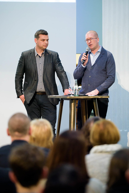 Daniel Lörcher (links, BVB) und Andreas Kahrs (Bildungswerk Stanisław Hantz)