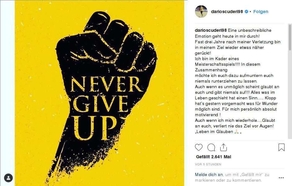 Never give up - die  freudige Nachricht verkündet Scuderi selbst
