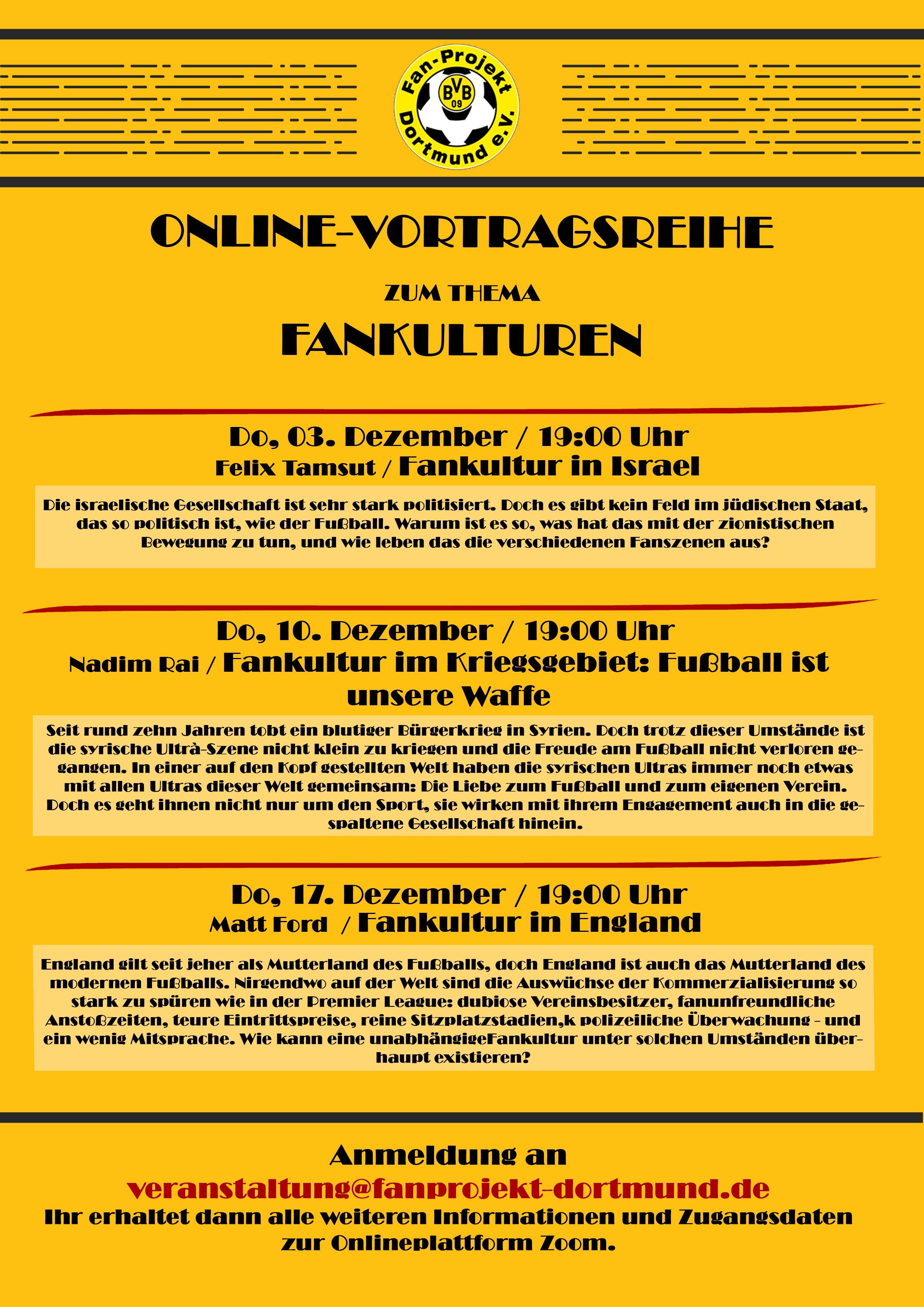 Die digitale Vortragsreihe vom Fanprojekt Dortmund