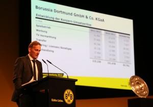 Aki Watzke stellt die Geschäftszahlen der KG vor