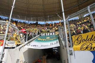 Der Dortmunder Gästeblock beim fraglichen Spiel in Hoffenheim