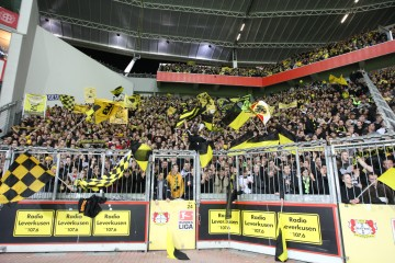 The BVB-Supporters block in Leverkusen