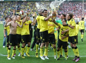 Celebration after the match against Nuernberg