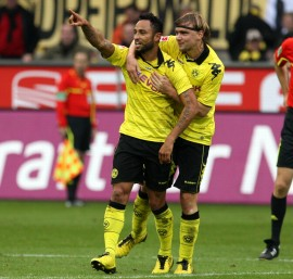 Antonio da Silva celebrates his first goal for Borussia