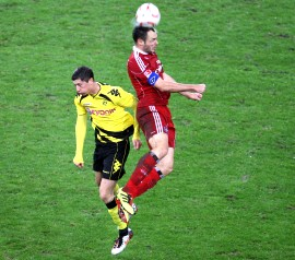 Robert Lewandowski in the match against Hamburg