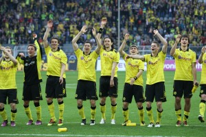Celebration after the match against Freiburg