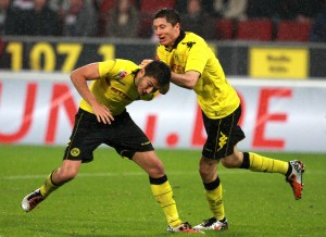 Sahin and Lewandowski celebrated the 1-2