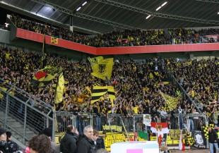 The BVB-Supporters block in Leverkusen