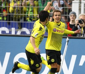Götze celebrating
