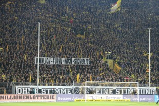 Not the usual picture of the Südtribüne