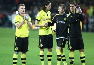 5 Buden gegen die rheinische Borussia feiern die Torschützen Kuba, Subotic und Reus (v.L.)