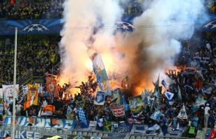 Pyroshow der OM-Ultras