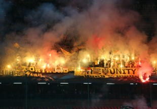 Great pyroshow in the BVB-supporters area