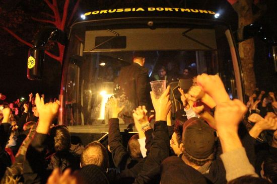 The Boycotters welcome the team bus