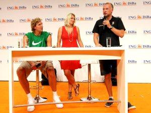Frank Buschmann mit Dirk und Silke Nowitzki