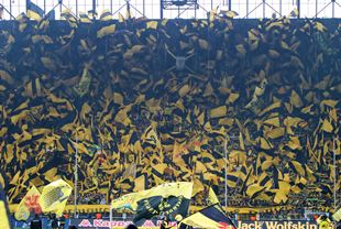 The yellow wall celebrates the championship 2012