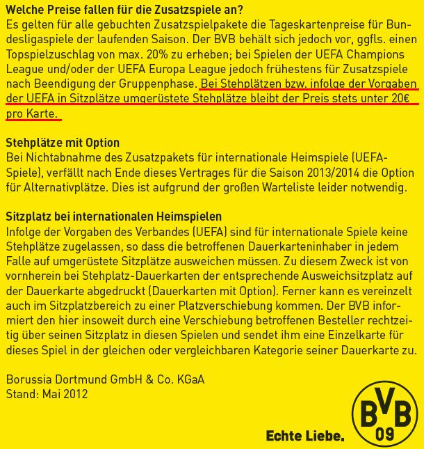 Auszug aus Flyer zum Dauerkartenverkauf 2012/2013