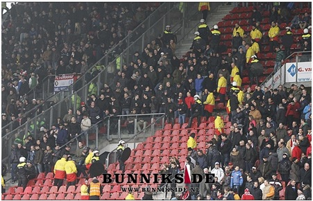 Rotterdam fans standing next to the away stand in Utrecht