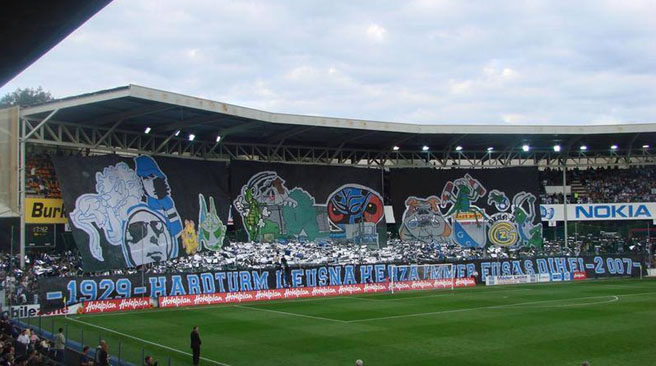 Choreo at the farewell of the Hardturm stadium