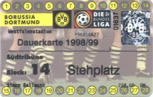 Südtribünen-Dauerkarte von 1998/99
