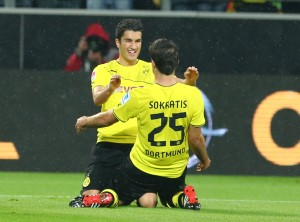 Sahin and Sokratis after the equaliser
