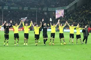 Jubel nach dem letzten Sieg gegen den VfB Stuttgart