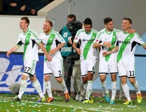 Wolfsburger Jubel im Hinspiel