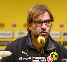 Manager Klopp at the pressconference