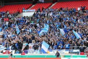 """Stuttgarter Kickers fans in a """"foreign"""" environment"""