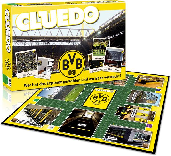 Verpackung und Spielfeld von Cluedo BVB