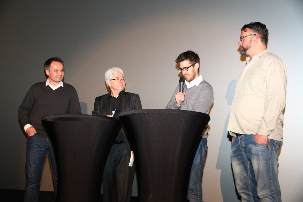 The project leaders: Gregor Schnittker, Moderator Josef Schneck, Jan Hendrik Gruszecki and Marc Quambusch (from left to right)