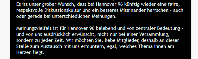 Aussage der Mitglieder Mail von Hannover 96
